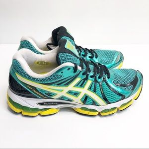 ASICS Gel Nimbus 15 Running Shoes Teal Yellow 8.5